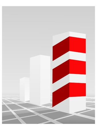 Vector illustration of business graphics with red stripes Stock Vector - 11942905