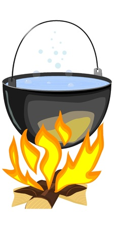 boiling pot: Vector illustration of a fire and a pot