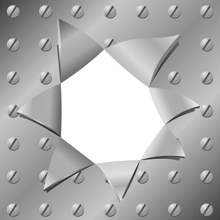 aluminio: Vector ilustraci�n de una placa de metal con un agujero