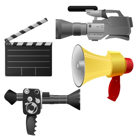 Vector illustration set of objects cinema Vector
