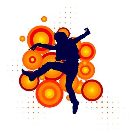 bailarines silueta: Vector silueta de un bailarín