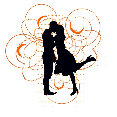 hand holding flower: Vector silhouette of a loving couple