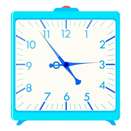 hands  hour: Vector illustration of a blue square alarm