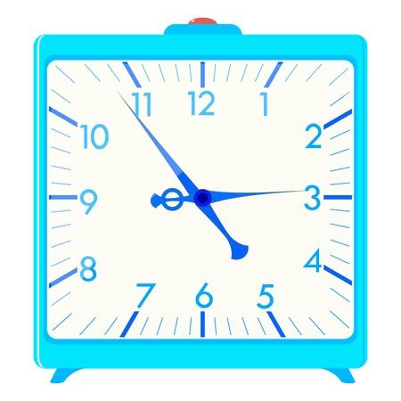 office clock: Vector ilustraci�n de un cuadrado azul de alarma Vectores