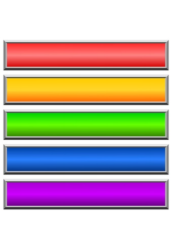 multi coloured: Set of color long buttons 7 Stock Photo