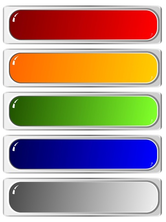 rounded squares: Set of color long buttons 3