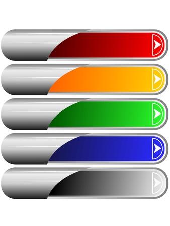 boton flecha: Conjunto de botones de colores largos 6 Foto de archivo