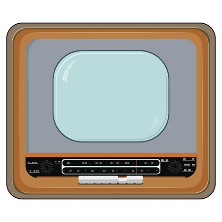 Vector illustration of an old TV set with wooden case Stock Vector - 11942834