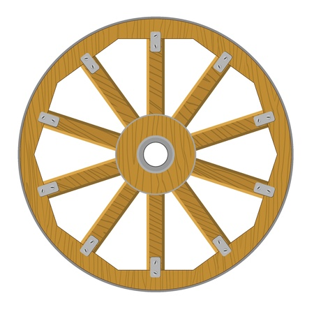 Vector image of a wooden wheel Illustration