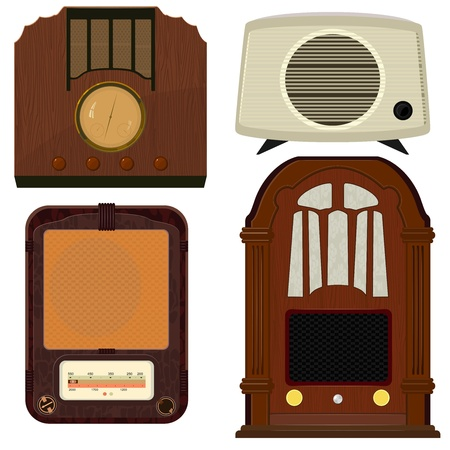 fm radio: Collection of vector illustrations of old radio