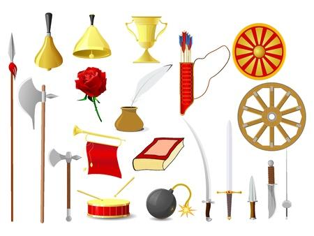 imagenes vectoriales: Conjunto de im�genes vectoriales de objetos antiguos