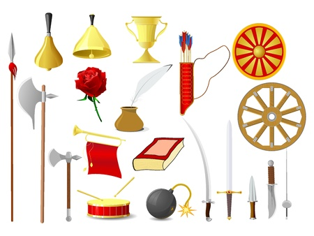 halberd: Set of vector images of old objects
