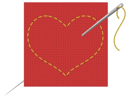 Vector illustration of the heart, needle and thread Vector