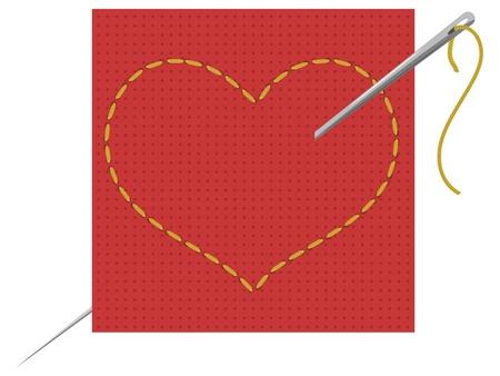 Vektor-Illustration des Herzens, Nadel und Faden