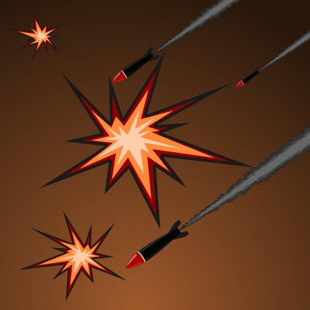 nuclear weapons: Vector illustration of rocket attack