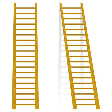 rungs: Vector illustration of a wooden staircase