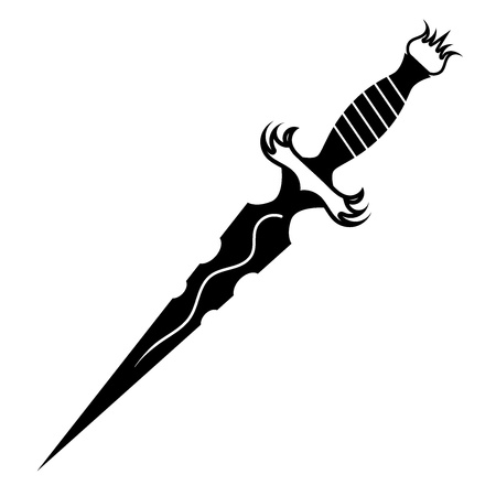 barbwire: Vector illustration of a dagger tattoo