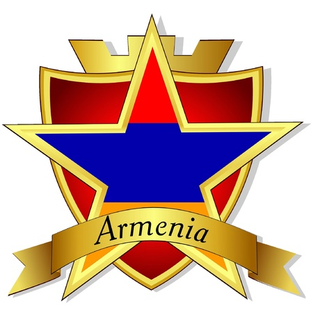 armenia: Vector gold star to the flag of  Armenia on the background of the shield