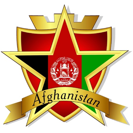 afghanistan flag: Vector gold star to the flag of  Afghanistan  on the background of the shield  Illustration