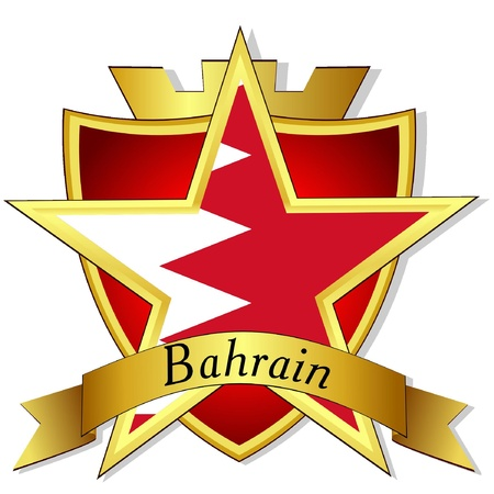 Bahrain: Vector gold star to the flag of  Bahrain on the background of the shield