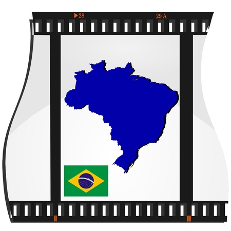 Film shots with a national map of Brazil  Vector