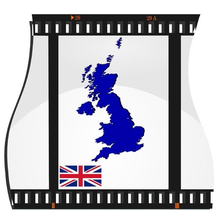 Film shots with a national map of United Kingdom Vector