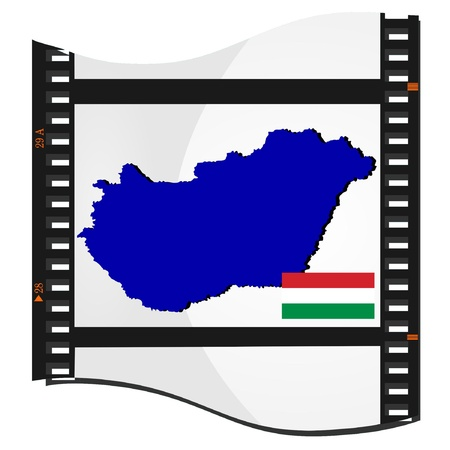 Film shots with a national map of Hungary  Vector