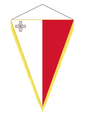 malta flag: Vector image of a pennant with the national flag of Malta