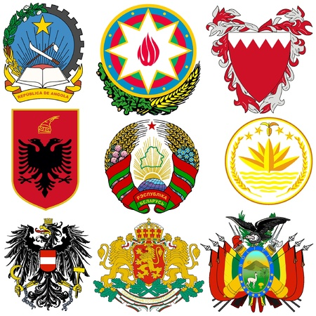 Vector set of coats of arms of the world Vector