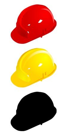 hard hat: Set of colored helmets. vector Illustration