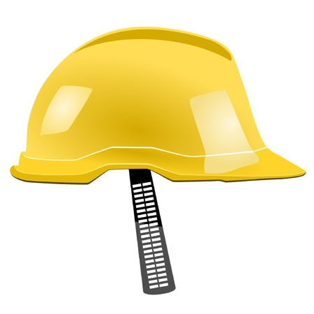 gauging: Yellow helmet with a strap