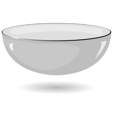 Vector illustratie van een metalen kom op een witte achtergrond
