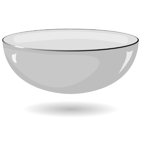 Vector illustration of a metal bowl on a white background Vector