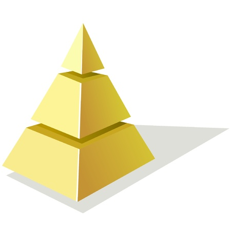 golden section: Vector illustration of golden pyramid  on a white background