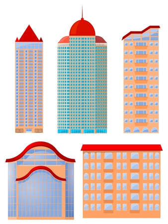 Collection of vector illustrations of apartment buildings Vector