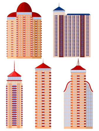 Set of vector  illustrations of apartment buildings Vector