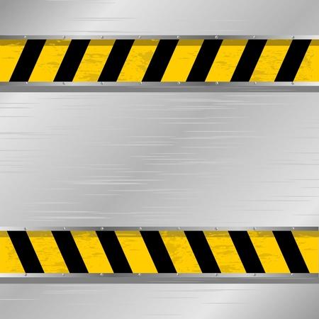 forbidding: Vector illustration of a metal plate with a forbidding strip Illustration