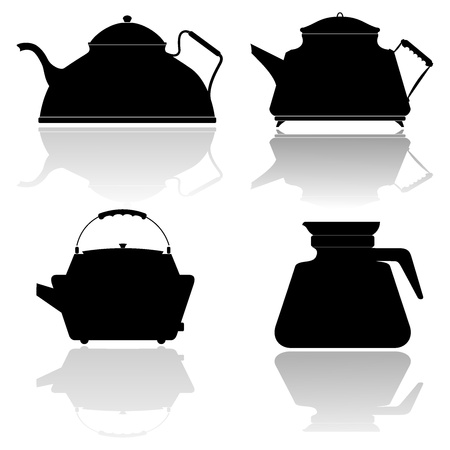 oolong: Set of vector silhouettes of teapots