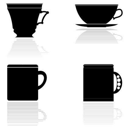 chinese teapot: Set of vector silhouettes of tea cups