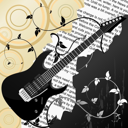Abstract  vector background with guitar Vector