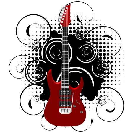 guitar background: Vector illustration of a guitar on abstract grunge background