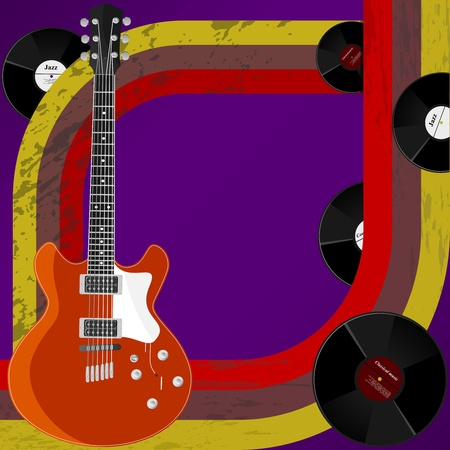 Vector  retro background with his guitar and vinyl records Vector
