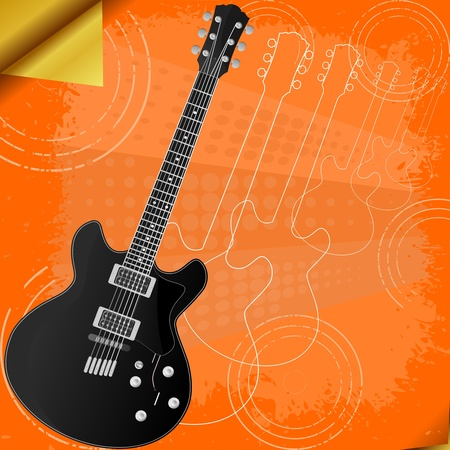 Vector  retro background with electric guitar Vector