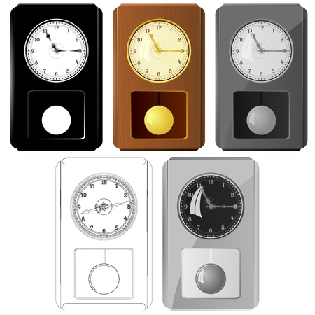 Set of vector images pendulum clocks Stock Vector - 11943088