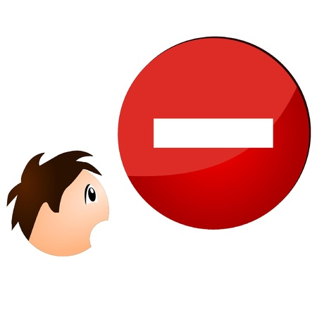 Sign ban showing the boy's face Stock Vector - 11942961