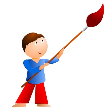 Little boy with a large brush Stock Vector - 11942990