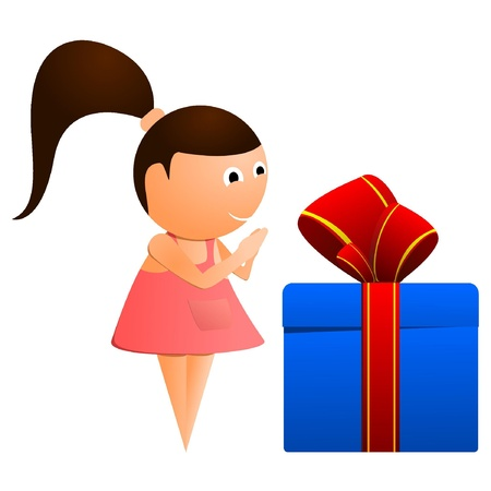 only baby girls: Little girl with a gift. vector