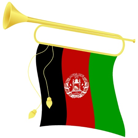 heralds: Vector illustration bugle with a flag Afghanistan