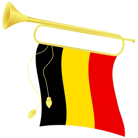 heralds: Vector illustration bugle with a flag Belgium