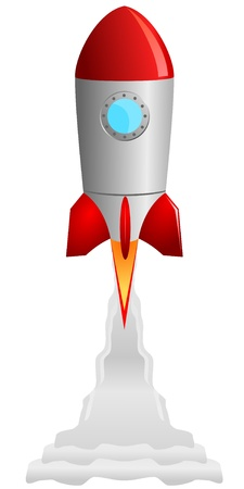 Vector image of the rocket taking off Vector